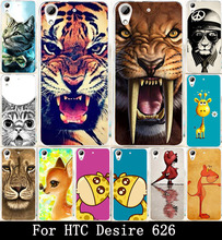 Hard PC Soft TPU Phone Covers For HTC Desire 626 650 628 626w 626D 626G 626S Bag Skin Shell Housing Case Lion Tiger Owl Painted