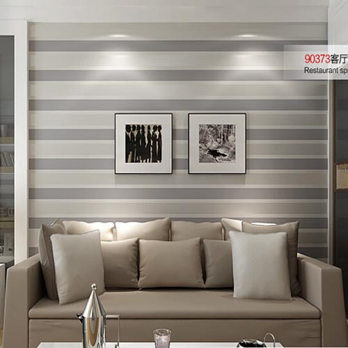 3D Wall Paper Stripe Wallpaper Striped Flocking Bedroom or Living Room or TV Background Wall Beige Grey papel de parede Roll<br>