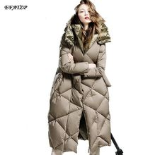 Fashion Brand CLJ Down Coats 2015 New Designer High Quality Women's Thick Luxury double sides Loose Long Goose Down Jackets