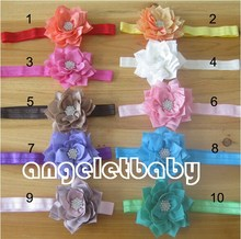 50pcs hair accessories kids bows flower   headband lace fabric Rhinestone flowers stretchy hair band african gele SG8621