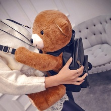 plush toy stuffed doll cute soft brown teddy bear backpack PU rucksack satchel bag baby animal lover christmas birthday gift 1pc