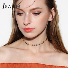 JEWLINE Fashion Minimalist Copper Choker Necklace Korea Simple Dainty Gold Color Chain Necklaces for Women Gift Jewellery #CK267