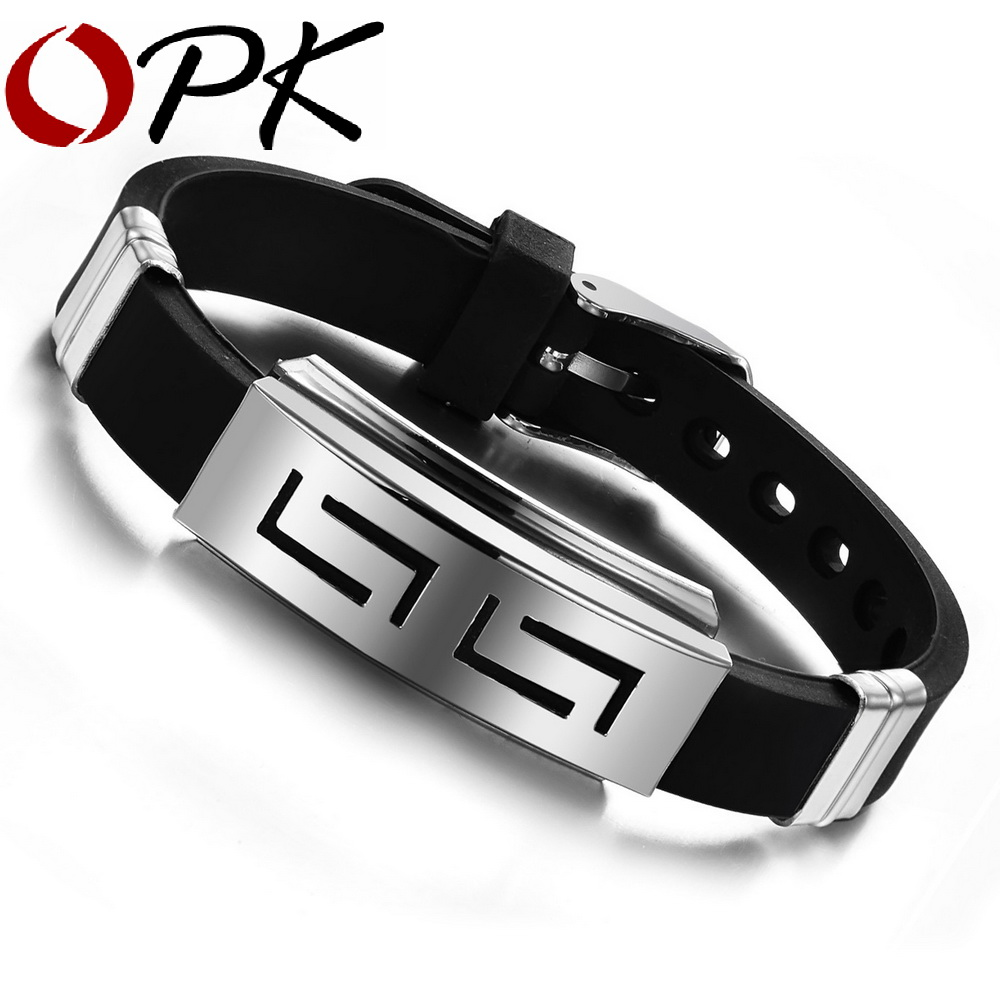 Opk 2016 New Fashion Jewelry Silicone Rubber Silver Slippy Hollow Strip  Grain Stainless Steel Men Bracelet