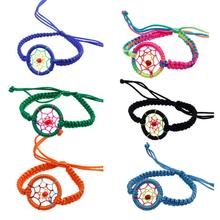 SUSENSTONE Women 1PC Fashion MulticolorKnitted Rope Charm Campanula Dream Catcher Bracelet Leather Cute Bracelets for Women#10