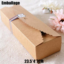 Food Accept Real Hot Sale Cardboard Box Macaron Packaging Caixa Kraft Paper Boxes Jewelry Cake Gift 100pcs/lot 23.5*4*7cm
