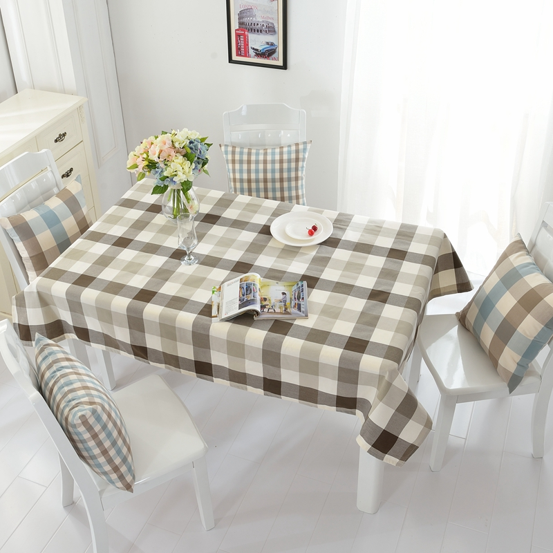 Waterproof Polyester Tablecloth Black White and Grey Plaid Simple and Brief Design for Rectangle Dining Tables(China)