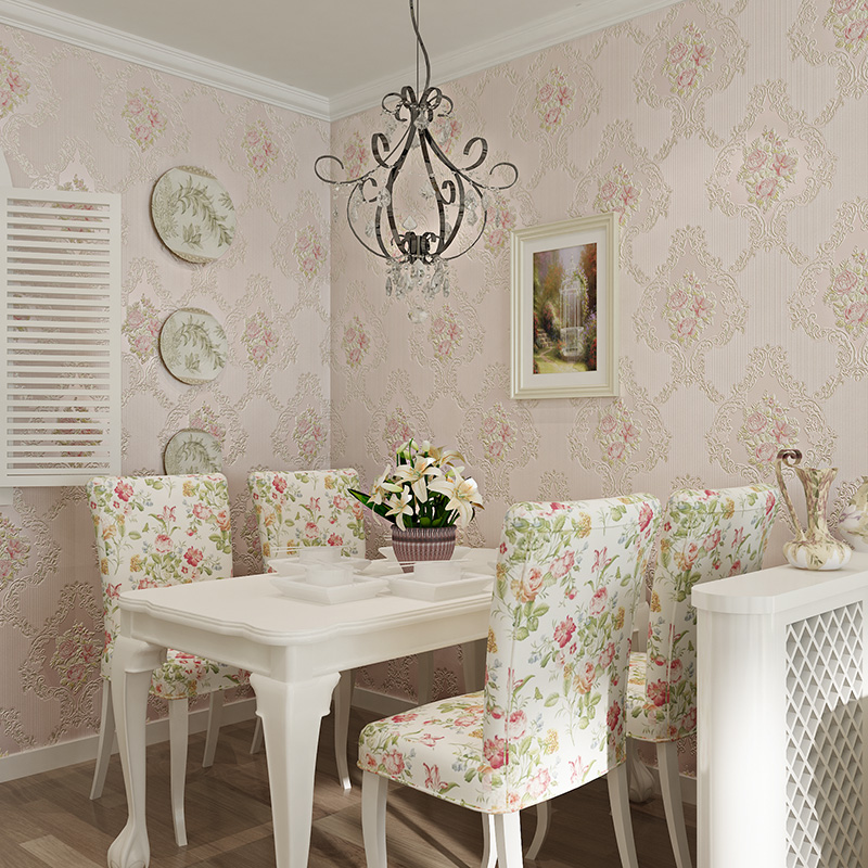 Warm American pastoral 3d wall murals wallpaper ,non-woven wallpaper embossed pearl for living room bedroom flower wall paper<br>