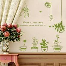 1pc creative wall sticker Potted Removable Bedroom Background stickers Decorative Wall paper home decoration accessories A35(China)