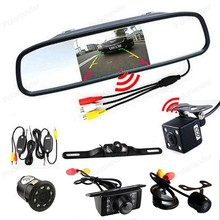 CCD 2CH Video diaplay wireless 4.3 inch Car LCD Rearview Mirror Monitor with Reversing Camera Auto Parking Assistance system