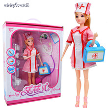 Abbyfrank Plastic Simulational Job Occupation Dolls Suits Student Nurse Air Attendant Cosplay Educational Toys For Children