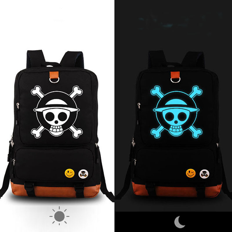 High Quality Anime One Piece Luffy Chopper Skull Luminous Printing Canvas Travel Bag school bags for teenagers Mochila Feminina <br>