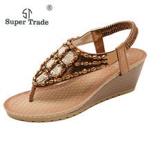 ST SUPER TRADE Size 35-42 New Summer Sandals Bohemia Style Wedges Heeled Shoes European And American Rhinestone Sandals 88B-1(China)