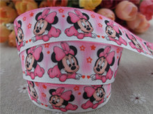 new arrival 1'' (25mm) cartoon printed grosgrain ribbon pink ribbon hairbow ribbon 10 yards tape(China)