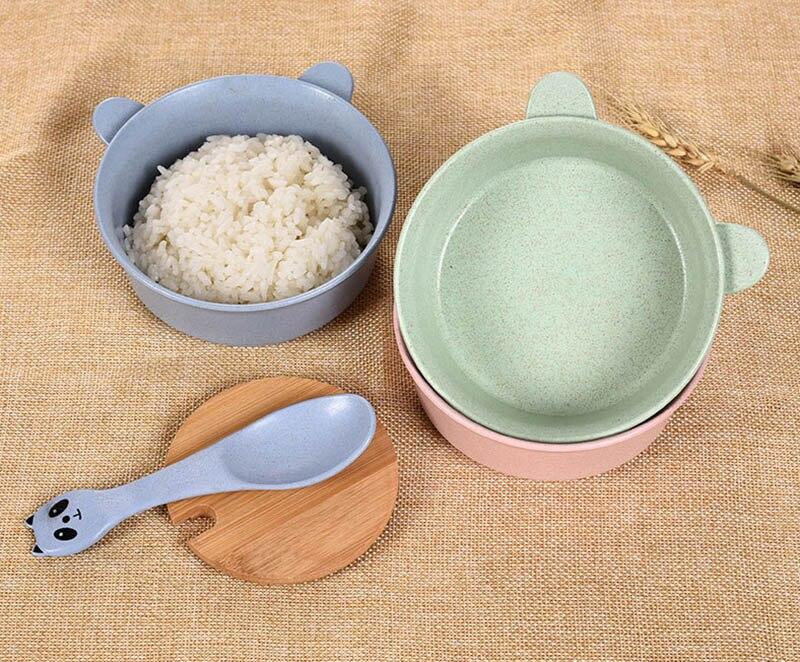 2 PcsSet Baby Feeding Food Tableware Panda Wheat Kid Dishes Eco-Friendly Children Training Dinnerware Plate Bowl Spoon BB5088 (11)