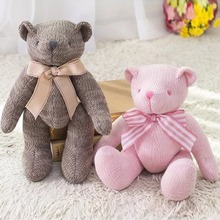 2017 New High Quality Bowknot Plush Toys Knitting Teddy Bear Doll Kawaii Small Plush Toys Stuffed Fluffy Bear Dolls Toys 28CM(China)