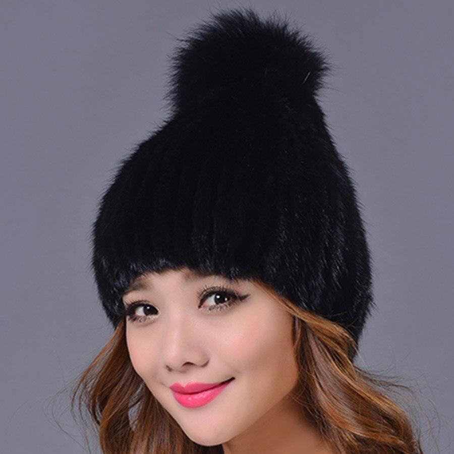 33.9 100% Real Mink Fur Hat and Beanie Cap with Fox Fur Ball Hat for WomenÎäåæäà è àêñåññóàðû<br><br>