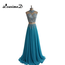 2 Pieces High Neck Party Evening Dresses Beaded Crystal Side Leg Split Prom Dress 2017 For Girls Graduation Robe de soiree Real