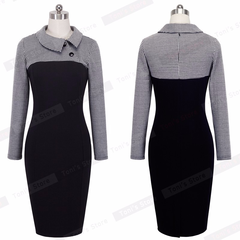 Nice-forever Elegant Vintage Fitted winter dress full Sleeve Patchwork Turn-down Collar Button Business Sheath Pencil Dress b238 20
