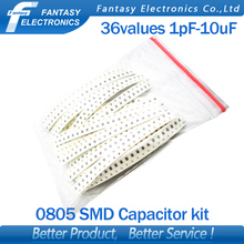 36values*20pcs=720pcs 0805 SMD Capacitor assorted kit 1pF~10uF component diy samples kit new and original free shipping
