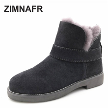 ZIMNAFR BRAND 2017 WOMEN FUR SNOW BOOTS GENUINE LEATHER  WINTER BOOTS  ANTISKID COW LEATHER ANKLE BOOTS WOMEN SHOES SIZE 36-41