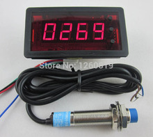 DC 12V 4 Digit Red LED Counter Meter with Relay output+Proximity Switch Sensor NPN 4-Digit Counters(China)
