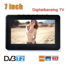 Fashion 7 inch 16:9 HD TFT DVBT2/DVBT Digital & Analog Mini led Portable Car TV all in 1 Support USB Record TV Program