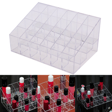 Hot Sale 24 Lattice Lipstick Acrylic Jewelry Makeup Organizer Box Case Mascara Cosmetic Holder Plastic Box Home Storage Tool