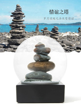 9pig Souvenir Cairn Crystal Ball Water Cool Snow Globe The Tower of Friendship Rock Stone White Snowflake Home Decoration Crafts(China)