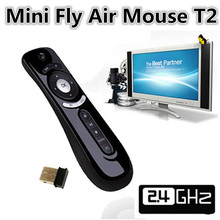 New 2.4G Wireless Gyroscope Fly Air Mouse T2 Mice Android Remote Control 3D Motion Stick Combo Computer Peripheral Free Shipping