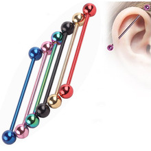 316L Mix color Titanium Anodized  14g 38mm Industrial Barbell ear plug tunnel body jewelry  Tragus Earring Piercing Stud