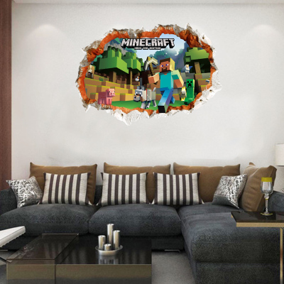 HTB1dsgYefBNTKJjy1zdq6yScpXan - Newest Minecraft Wall Stickers 3D Wallpapers Kids Room Decals Minecraft Steve Home Decoration Popular Games Home Free Shipping