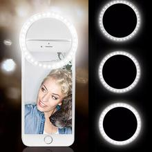 Portable Selfie LED Ring Flash Fill Light Clip Camera For Android Mobile Phone
