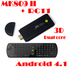 by dhl or ems 50 pieces TV Stick MK809 II Android 4.1 Mini PC HDMI Dual core 1GB RAM 8GB Bluetooth MK809II 3D+Fly air mouse RC11
