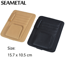 Car Card Holder Sun Visor Bag Leather Auto Car Storage Organizer Box Glasses Holder Bags Container On Cars Sunshade Storage Bag