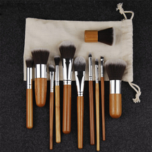 11pcs Natural Bamboo Makeup Brushes with Bag Professional Cosmetics Eyeliner Brush Kit Soft Kabuki Foundation Blending Tool(China)