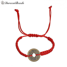 "DoreenBeads Polyester Kabbalah Red String Braided Friendship Bracelets Antique Bronze Copper Cash Coin 30cm(11 6/8"") long,1Piece(China)"
