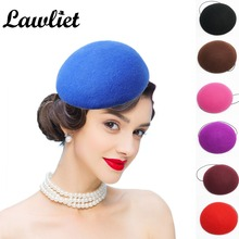 Womens Fascinator Hats Round Wool Pillbox Hat Ladies Wedding Party Cocktail Dance Headband DIY Hat Base Millinery Craft 3pcs/set