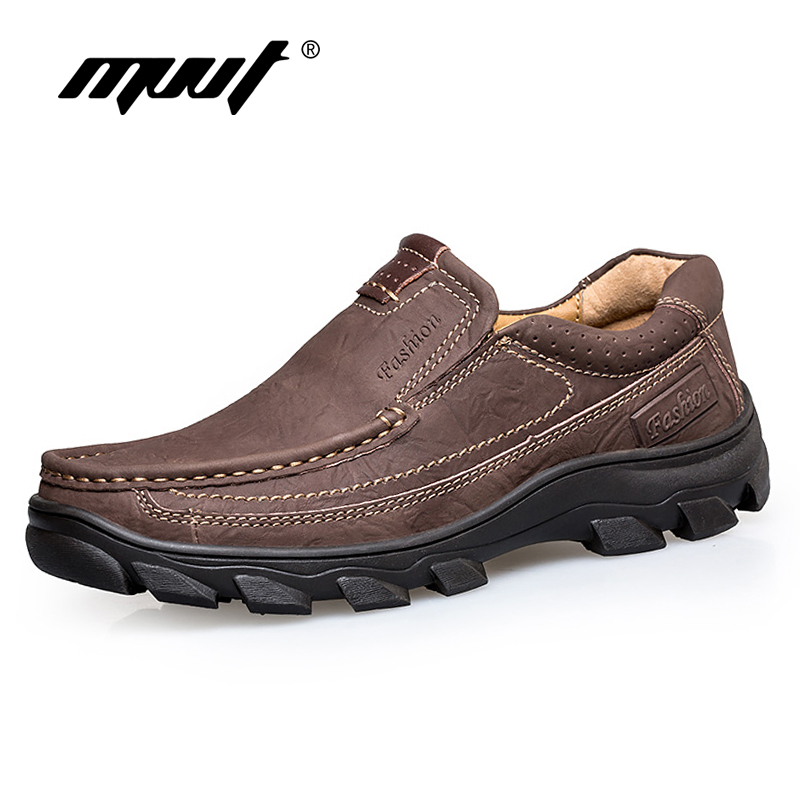 MVVT Handmade Genuine Leather Shoes Men Casual Shoes Slip On Mens Flats Shoes Classic Wear-resisting Men Autumn Shoes<br>