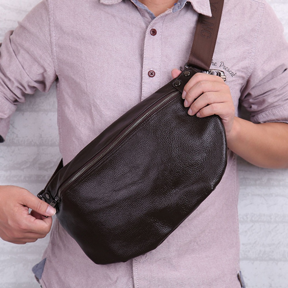 Men Genuine Leather Cowhide Vintage Sing Chest Pack Multi-purpose Riding Messenger Shoulder bag Leisure handbags<br>