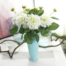 Keythemelife Artificial Flowers 2pcs Dahlias Silk Flower Fall Vivid Fake Leaf Wedding Home Party Decoration High Quality B5