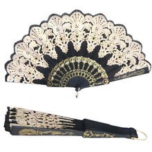 1 PC Black Fashion Chinese Style Folding Fan Dance Party Wedding Lace Silk Folding Hand Held Flower Fan Home Decro(China)