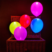 5pcs Colorful Flash Illuminated LED Balloon Glow In The Dark Sky Lanterns Happy Birthday Decoration Party Baloons