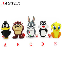 JASTER  pendrive animal 4G Daffy 8G Duck 16G Bugs Bunny Crow Lion cat USB Flash Drive U Disk Creativo Pendrive Memory Stick Gift