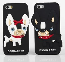 3D New Arrival Cute Cartoon Lovely D square Couple Dog Bulldog Soft Silicon Case Cover For Iphone5 6 6s 6s plus 6 Plus 4.7 5.5