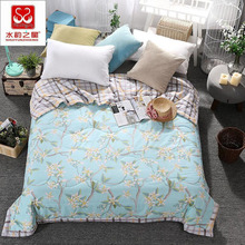 Beauty Floral Printed Summer Comforter Blue Color Thin Quilt Duvet Super Soft Bedclothes Home Textile Twin Queen Size XF8J6