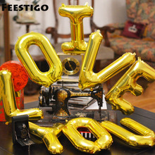 16 inch Gold Aluminum Foil Letters Balloon For Wedding Holiday and Party Home Decoration(China)