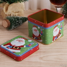 1Pc Christmas Style Square Tin Box Biscuit Candy Case Xmas Gift Cookie Storage G03 Drop ship(China)