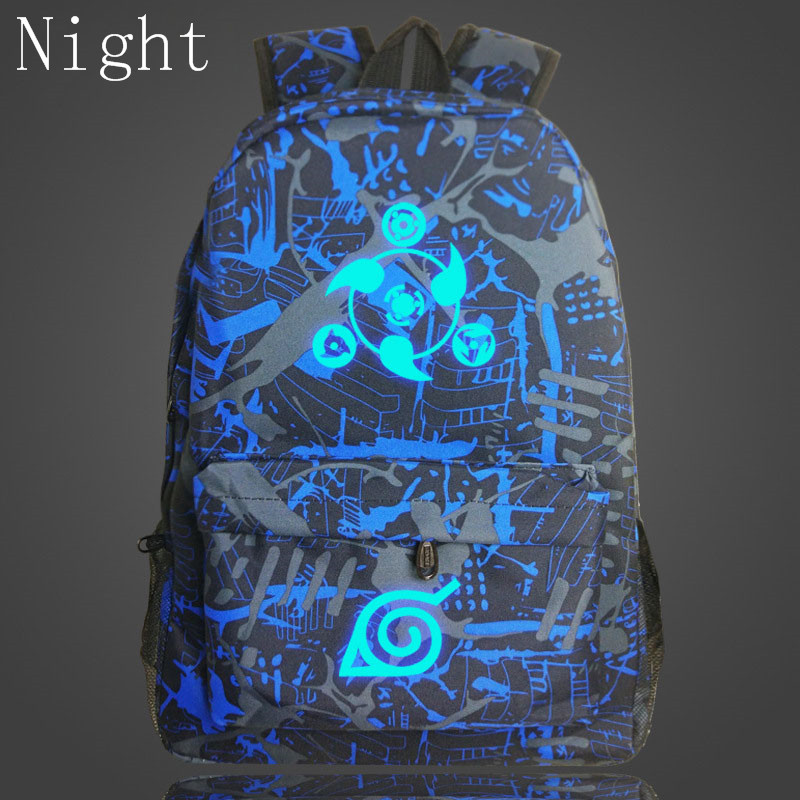 2017 New Arrival Japanese Anime Canvas Backpack Naruto Luminous Rucksacks School Travel Laptop Bags For Teenagers Bolsas Escolar(China (Mainland))