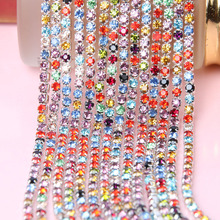 2yard/lot SS6 2/3mm Silver Metal Base Densify Claw Sewing Mixed Colored Crystal Rhinestone Cup Chain Trimming DIY Necklace Z120