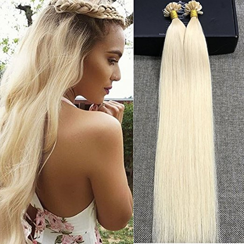 Full Shine Natural Keratin Capsule Pre-bonded U Nail Tip Hair Extensions # 613 Blonde 100 % Real Remy Human Hair Extensions <br><br>Aliexpress